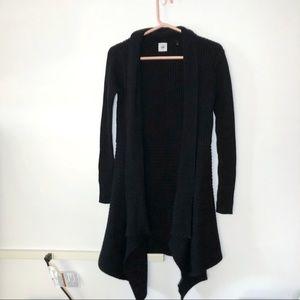 Cabi Black Ribbed High Low Long Sleeve Cardigan